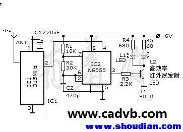时基电路ne555及其外围元件组成38khz振荡器,无线接收模块输出的信号