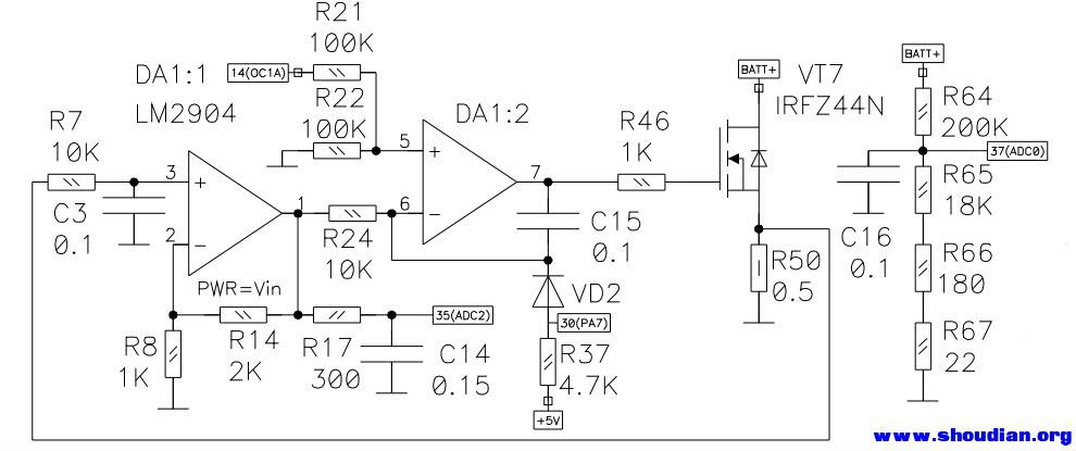 再说说充电电路: 充电电路采用了BUCK和BOOST电路相结合的方式工作,当充电电池的电压小于供电电压时采用降压电路BUCK,当充电电池的电压大于供电电压时采用升压电路BOOST,总之充电的电源要高于电池电压。 工作于BUCK方式时,DA3:1接受CPU的13(OC1B)输出的PWM, VT14等部分工作,V+_IN通过VT14-L1-VD6输出,VT14关断时VD5续流。此时DA3:2的CPU的14(OC1A)=0。 工作于BOOST方式时,DA3:2接受CPU的14(OC1A)输出的PWM,VT16等