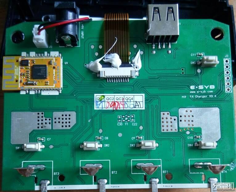 防反接保护电路:四路独立8208双通道nmos构成防反接保护开关.