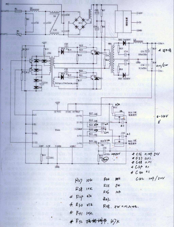 更新原件列表 如下 : 电阻: 10K*4个 *** 47K*3个 *** 2.2K*1个 *** 620欧姆*1个 *** 500欧姆/3瓦 0.01欧姆/5瓦 ***** 必须是0.01欧姆的 如果不是可以用其他串并联成0.01欧姆 如果实在没办法找到0.01 欧姆需要从新计算阻值 如果R38变动 的话 其他电阻也需要变化 如R32 R39 R40 可调电阻: 1K *** 最好采用精密多圈可调电阻 10K *** 最好采用精密多圈可调电阻 电容: 电解电容: 50V3300uF*1个 50V1uF