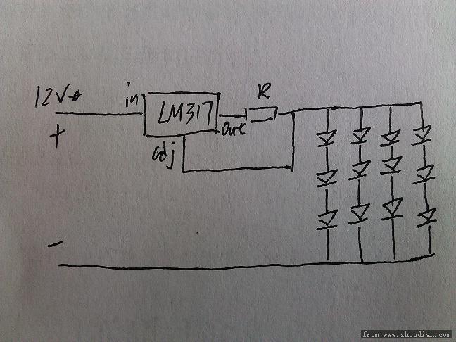 请教,想用lm317恒流接法,接草帽led改装汽车阅读灯