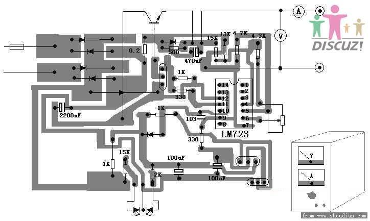 采用lm723具有过流保护的可调直流稳压稳流电源电路图 配合大功率调整管,可输出0~20 连续可调的稳定电压,最大输出电流可达2A,并且具有过流保护功能,可作为手机、BP机的维修电源,也可用于蓄电池充电. 具有过流保护的可调 直流稳压稳流电源 本电源的主要器件是通用稳压集成块,内部含有启动电路、恒流源、基准稳压源、过流保护等电路配合大功率调整管,可输出0~20 连续可调的稳定电压,最大输出电流可达2A,并且具有过流保护功能,可作为手机、BP机的维修电源,也可用于蓄电池充电电路见图1,正常使用时,红色和绿色